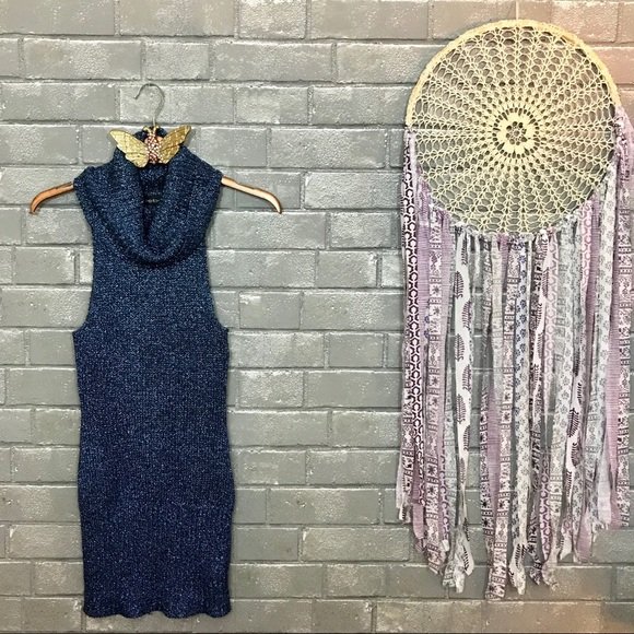 bebe Tops - 💫bebe // metallic midnight blue knit tank top s